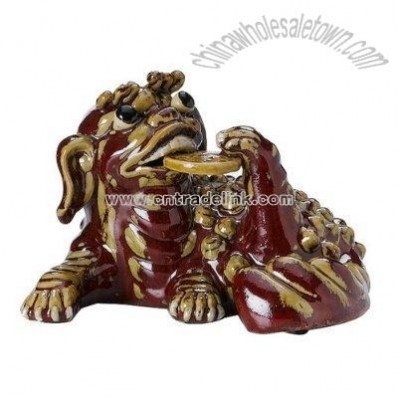 Ceramic Dragon Figure- Red/ Gold