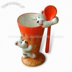Ceramic Ice Cream Cup with Spoon