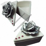 Ceramic Jewelry Case of Triangle Shape with Rhinestone Flower Set