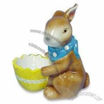 Ceramic Rabbit with Easter Egg Holder Cup