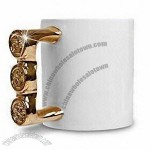 Ceramic Ring Mug with Gold and Silver Colors