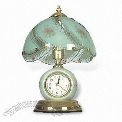 Ceramic Touch Table Lamp with Clock and Opaque Glass Shade