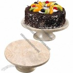 Champagne Marble Cake Plate on Pedestal