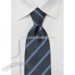 Charcoal gray tie with blue stripes