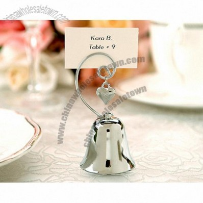 Charming Silver Bell Place Card Holders