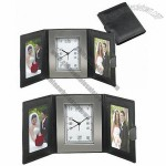 Chass Trifold Leather Travel Alarm Clock w/ Two Photo Frame