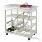 Cheap MDF Kitchen Cart with Drawer, Shelves, Wire Basket, Wine Rack in White Color