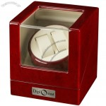 Cherry Wood Double Watch Winder with Off-White Leather Interior