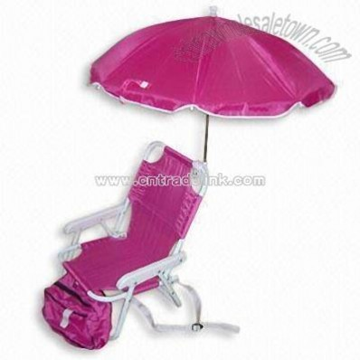 Children Low Seat Folding Chair with Cooler Bag and Nylon Umbrella