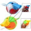 Children Toy Plastic Cartoon Style Funny Kids Safety Round Whistle with Color String