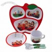 Children's Melamine Tableware Set with Bowl/Dividing Plate/Sippy Cup/Spoon/Fork