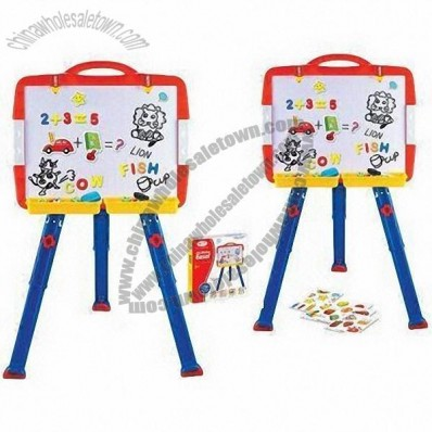Childrens' educational multifunction drawing easel with magnetic letters/numbers