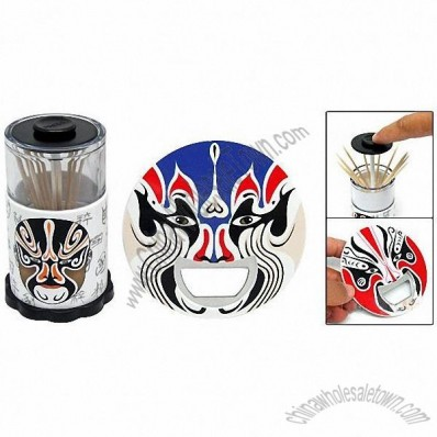 Chinese Opera Bottle Opener & Automatic Toothpick Holder Case