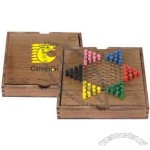 Chinese checker set with a wood case