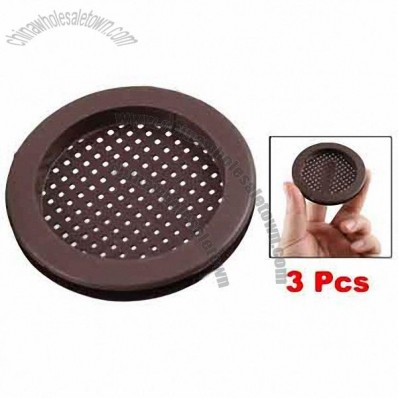 Chocolate Color Kitchen Bathroom Plastic Round Sink Basin Strainer 3 Pcs