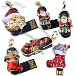 Christmas Rhinestone USB Flash Drive Jewelry Memory Stick
