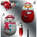 Christmas Snowman and Santa Claus Hand Pressing Flashlight