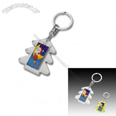 Christmas Tree-Shaped Soler Flashing Keychain