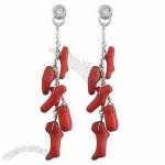 Christmas red boot dangle earring