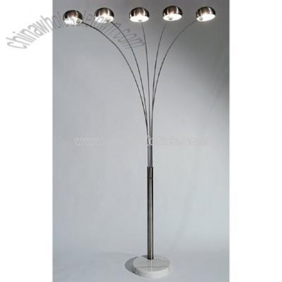 Chrome Adjustable Five Arm Floor Lamp