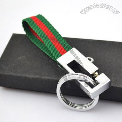 Chrome Alloy Keychain with Strap