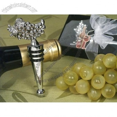 Chrome Grapes Design Wine Stopper