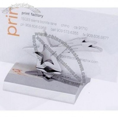 Chrome Metal Star Business Card Holder