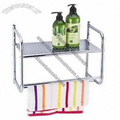 Chrome Wall-mounted Tier Bathroom Shelf