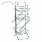 Chrome-plated 3-tier Bathroom Rack, Easy to Use and Assemble