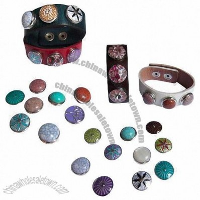Chunk snap buttons for snap chunk leather bracelet, necklace, ring and belt