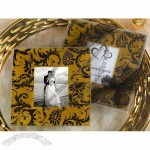 Classic Damask gold and black design photo coaster