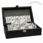 Classic Double 6 Black Dominoes With White Dots In An Elegant Case