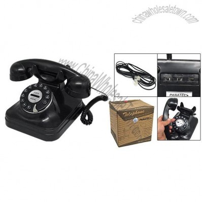 Classic Rotary Dial Style Pattern Push Button Telephone Retro Table Top Desk Phone Black