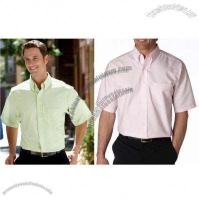 Classic Wrinkle-Free Short-Sleeve Oxford Promotional Shirt for Men's Colors