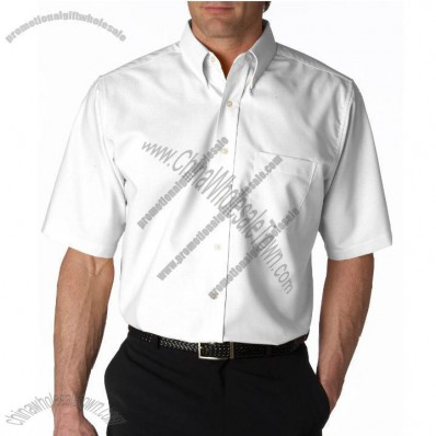 Classic Wrinkle-Free Short-Sleeve Oxford Promotional Shirt for Men's White
