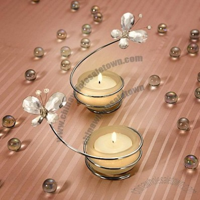 Clear Butterfly Candle Holders