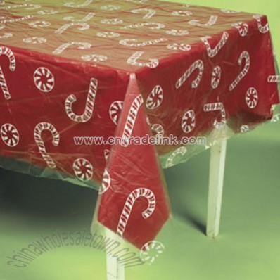 Clear Candy Cane And Peppermint Printed Table Cover