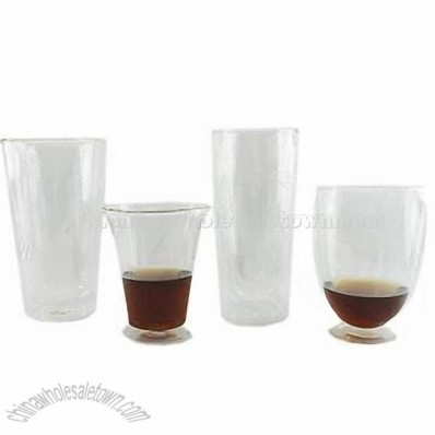 Clear Glass Double Wall Drinking Glass