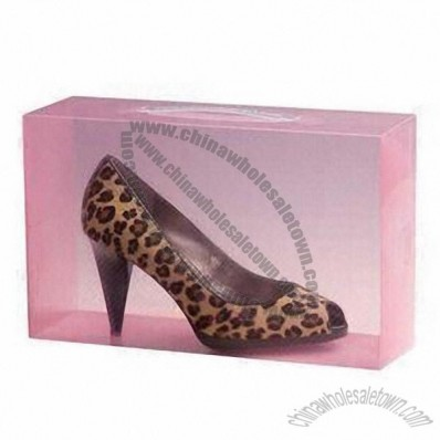 Clear Plastic Shoe Box, with Handle, 0.8mm PP Thickness