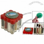 Clear Square Sewing Kit Holder Colors Thread Spools Needles Set