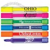 Clear barrel fluorescent broadline highlighter