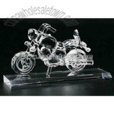 Clear crystal motorcycle award