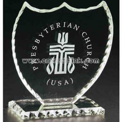 Clear crystal shield award