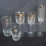Clear glass set with silver rim