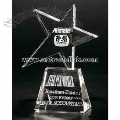 Clear optical crystal star award