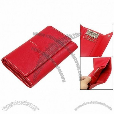 Clip Button Red Faux Leather Lady Purse Wallet Keyring