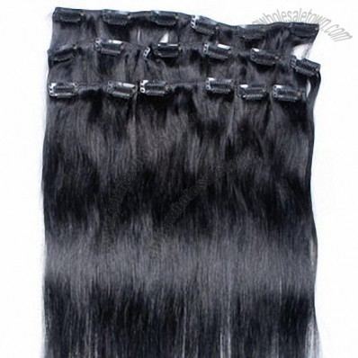 Clip-in hair, 8pcs, 18 clips off black Peruvian hair