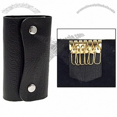 Clip-on Wallet Style Leather Key Holder Keyholder Black