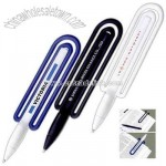ClipWriter (TM) - Twist-action combination plastic ballpoint pen and translucent blue bookmark