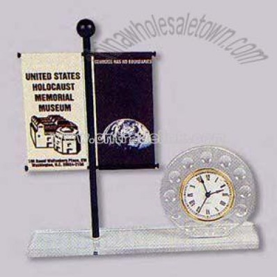 Clock desk set with banner